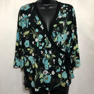 AVENUE V-neck  Floral Faux wrap around top